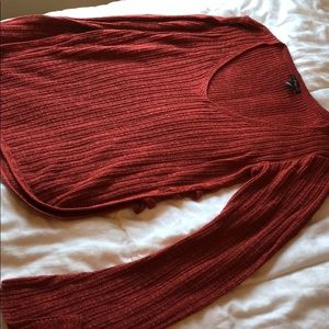 Burnt Red Express Thin Sweater with open sides